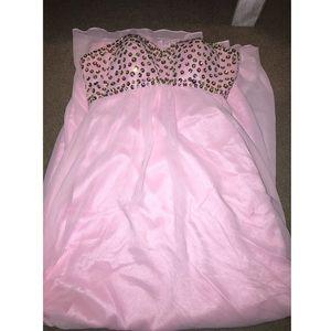Blush pink floor length prom dress
